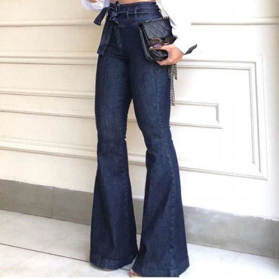 High Waist Micro-elastic Lace-up Flared Wide-leg Jeans  NSWL63933