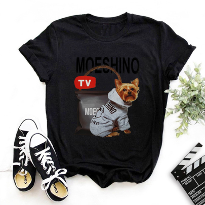 Short-sleeved Cute Dog Letter Printing T-shirt NSOUY64244