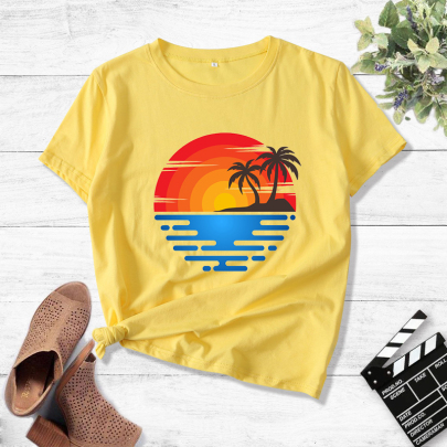Creative Landscape Printing Casual Short-sleeved T-shirt  NSOUY64237