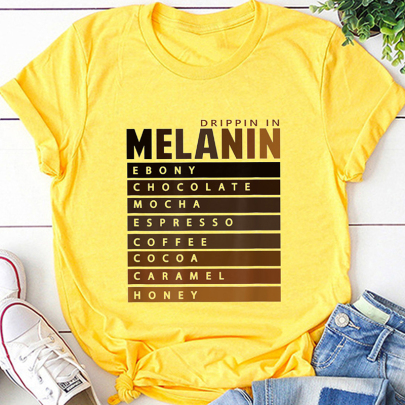 New Creative Letter Printing Casual Short-sleeved T-shirt NSOUY64238