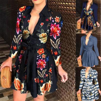 Long Sleeve V-neck Tie Fashion Sexy Printed Dress NSJC64173
