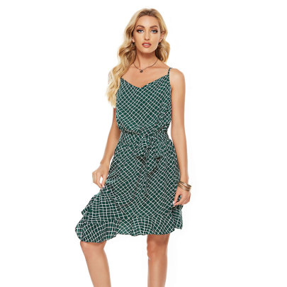 Sexy Plaid Print Halter Irregular Suspender Dress NSJIM64171
