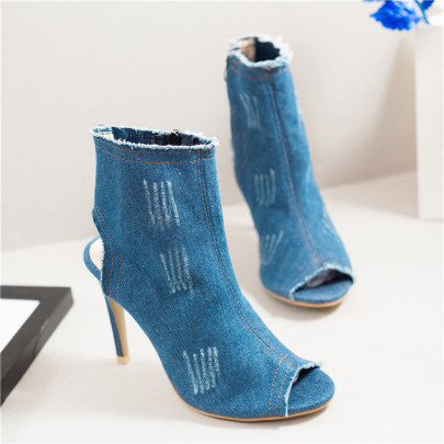 Stiletto High Heel Denim Fish Mouth Ladies Sandals NSYUS64169