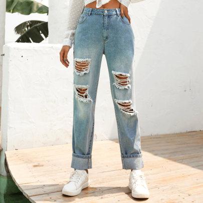 Fashion High Waist Ripped Jeans  NSJM63997