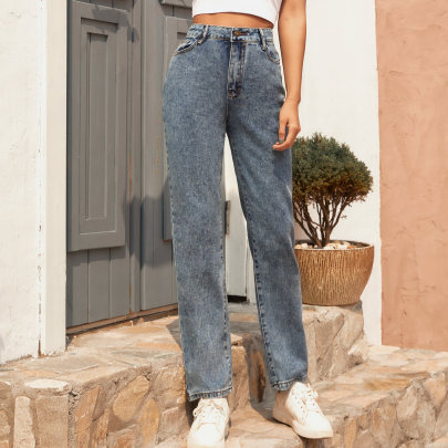 Fashion Solid Color High Wasit Jeans NSJM64004