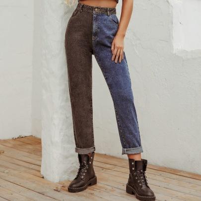 Retro Splicing High Waist Jeans NSJM64006
