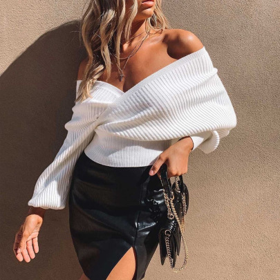 Spring New Deep V Cross Knitted Sweater NSYX64030