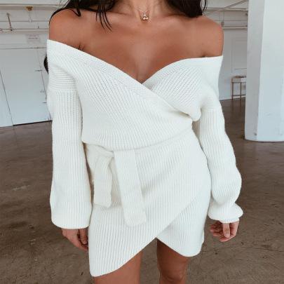 Sexy Off-the-shoulder V-neck Belted Dress NSYX64032
