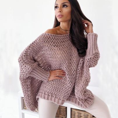 Autumn New One-neck Bat Sweater  NSYX64040