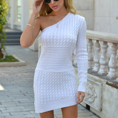 Autumn And Winter New Sexy One-shoulder Long-sleeved Knitted Dress NSYX64044