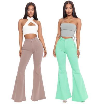 Hot Sale Fashion High-waist All-match Slim Stretch Denim Flared Pants NSSF64053
