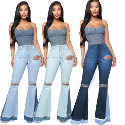 Fashion Wild Wide-leg Color Matching Slim Stretch Flared Pants NSSF64056