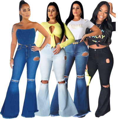 Sexy Fashion All-match Knee-hole Stretch Tight Denim Flared Pants NSSF64057
