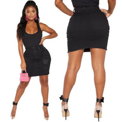 Hot Sale Fashion All-match Frayed Stretch Denim Skirt NSSF64065