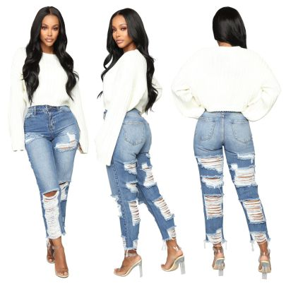 Fashion Washed Non-elastic Straight-leg Pants NSSF64070