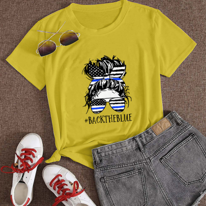 Creative Cartoon Character Letter Printing Casual Short-sleeved T-shirt NSOUY64213
