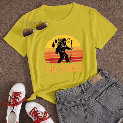 Creative Cartoon Letter Printing Casual Short-sleeved T-shirt NSOUY64212