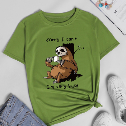 Creative Cartoon Letter Printing Casual Short-sleeved T-shirt NSOUY64210