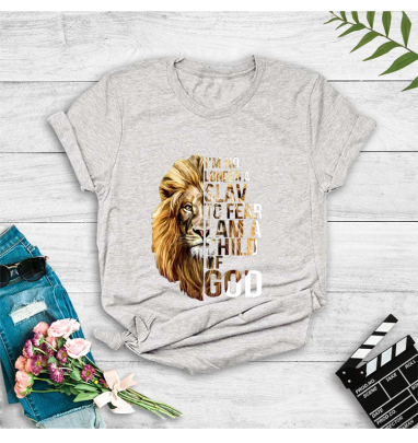 Creative Lion Stitching Letter Printing Casual Short-sleeved T-shirt NSOUY64207