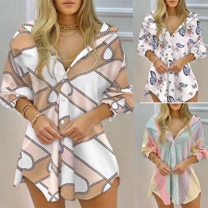 Long Sleeve Printed V-neck Button Shirt Dress NSJC64891