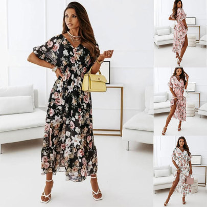 New Style V-neck Short-sleeved Elastic Waist Floral Dress NSJC64890