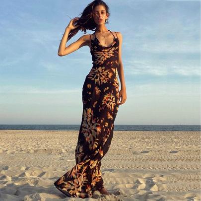 Print Pile Neck Sling Halter Long Dress NSHT64346