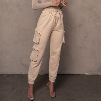 Fashion Casual Solid Color Pockets Tie-up Sports Pants NSHT64348