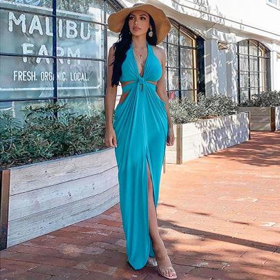 Fashion Sexy V-neck Halter Halter Dress NSHT64369