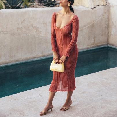 Solid Color Knitted Perspective V-neck Long-sleeved Long Dress NSHT64372