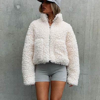 Fashion Plush Cardigan Short Jacket  NSHT64380