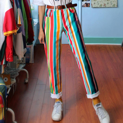 New Hot Sale Striped Print Casual Trousers NSGJ64394