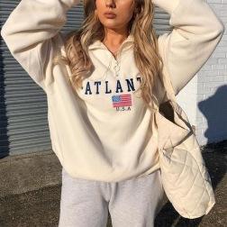 Embroidery Long-sleeved Sports Sweatshirt NSXL64435