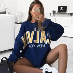 Casual Long-sleeved Letter Printing Pullover Sweatshirt NSXL64439