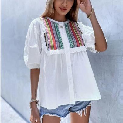 New Striped Stitching Puff Sleeve Shirt NSOUY64457