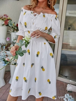 New Waist Slimming Pineapple Pattern Embroidery Mid-length Dress NSOUY64454