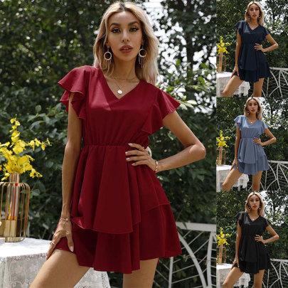 New Fashion V-neck Solid Color Waist Dress NSJC64538