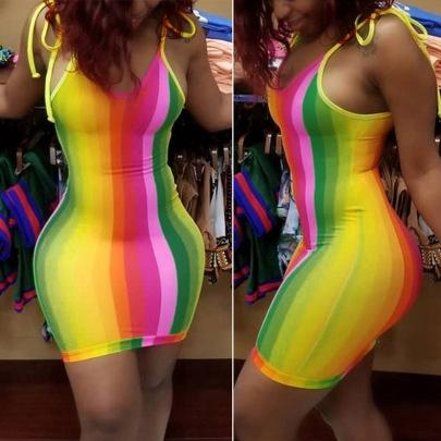 Printed Striped Sexy Suspender Dress NSGMY64461