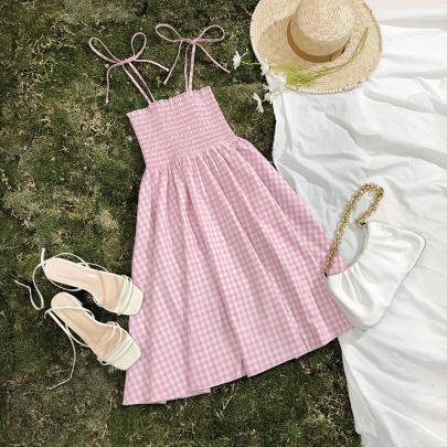 Waist A-line Plaid Suspender Dress NSGMY64480