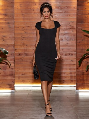 Square Collar Solid Color High Waist Slim Sleeveless Dress NSGMY64487