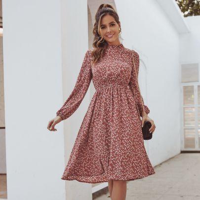 Waist Printing Long-sleeved Dress NSJM64499