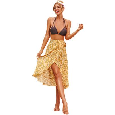 Retro Irregular Floral Wavy Side Strap Skirt NSJM64501