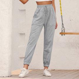 Elastic Drawstring Pocket Casual Knitted Straight Drawstring Pants NSJM64504
