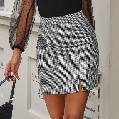 Fashion Plaid High Waist Slit Short Skirt NSJM64509