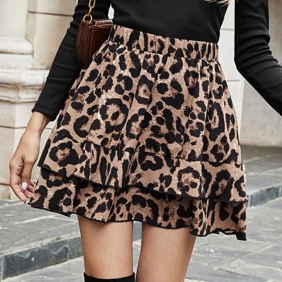Retro Leopard Print High Waist Skirt NSJM64510
