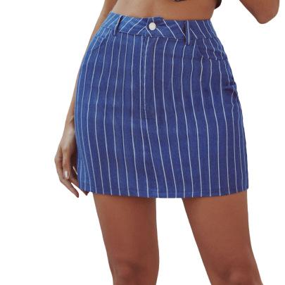 Sexy Wild Striped Denim  Skirt NSJM64526
