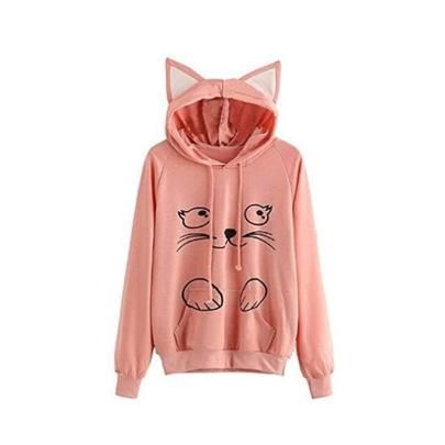 Models Cat Print Hooded Hooded Color-blocking Sweatshirt NSJM64533