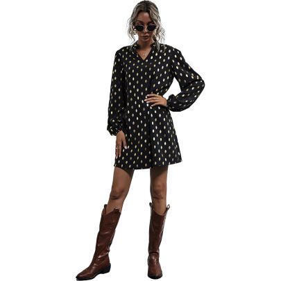 Fashion V-neck Polka-dot Dress NSJM64535
