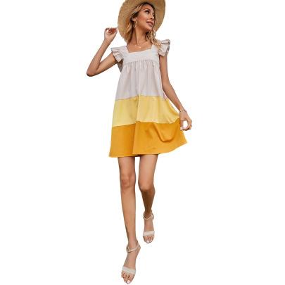 Sexy Sling Stitching Contrast Dress NSJM64537