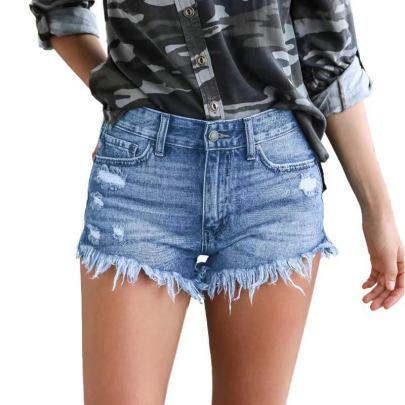 Summer Washed Light-colored Straight-leg Denim Shorts  NSJY64544