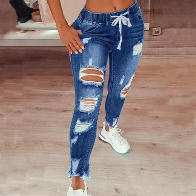 Elastic Mid-waist Jeans NSJY64545